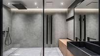 Moderní a prostorná koupelna se skleněnými prvky