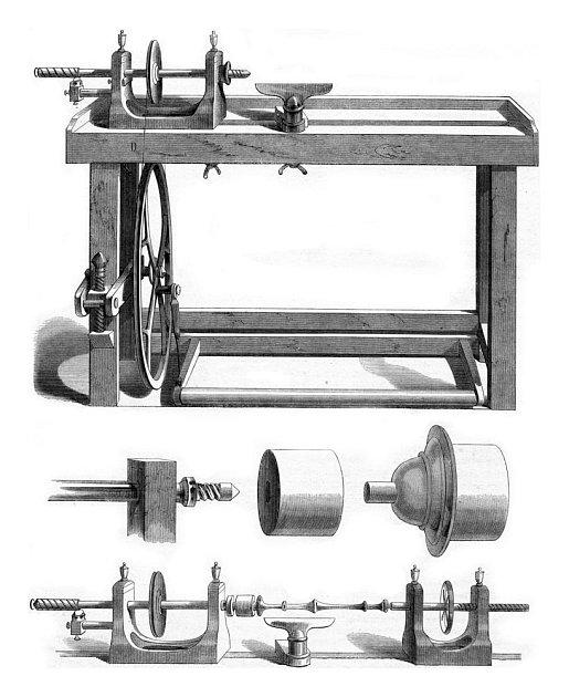 Soustruh, vyobrazení z roku 1853