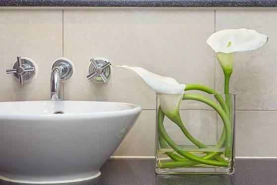 Eleganci dodají koupelně živé květy.