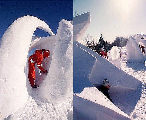 sněhové sochy na Pustevnách