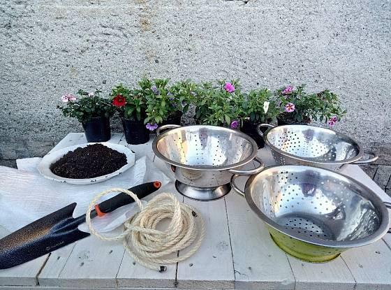 Kromě cedníku budeme potřebovat lopatku, zeminu a květiny.