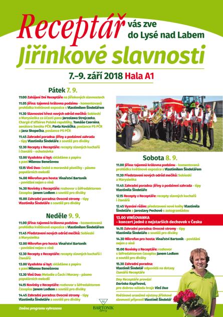 Program Dnů Receptáře na Jiřinkových slavnostech v Lysé nad Labem