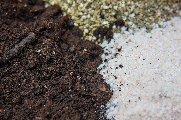 Materiál pro vylehčení substrátu - bílý perlit a béžový vermikulit