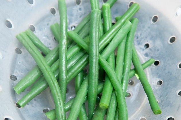 Zelené fazolové lusky v páře
