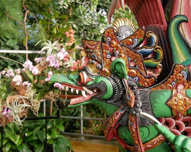 Výstavu orchidejí střeží posel bohů - Garuda.