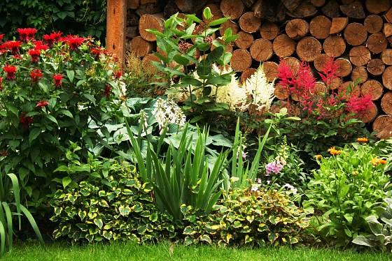Kůlna s pečlivě poskládaným dřevem částečně skrytá za rozkvetlým záhonem.