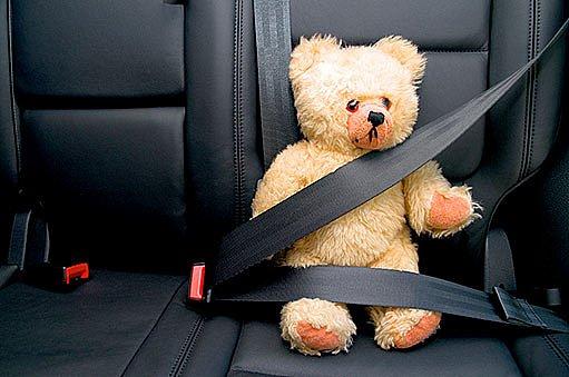 Plyšový medvěd jezdí alespoň připoutaný