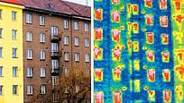 Termovizní snímek (vpravo) dokáže odhalit, jak na tom fasáda je, a následně prověřit účinnost zatepl