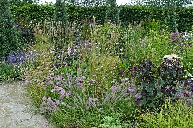 Trvalkový záhon stepního typu - květiny  okrasné traviny nenáročné na vláhu