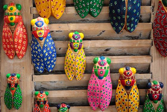 Pestrobarevné cikády patří k oblíbeným suvenýrům z francouzské Provence.