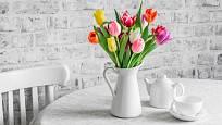 Čajová konvice se proměnila ve vázu na tulipány.