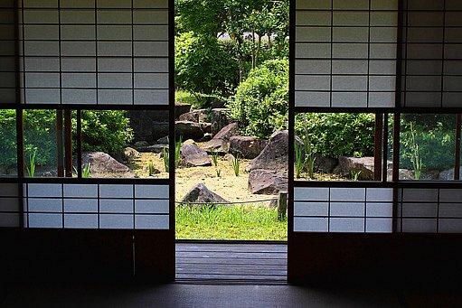 pohled do japonské zahrady