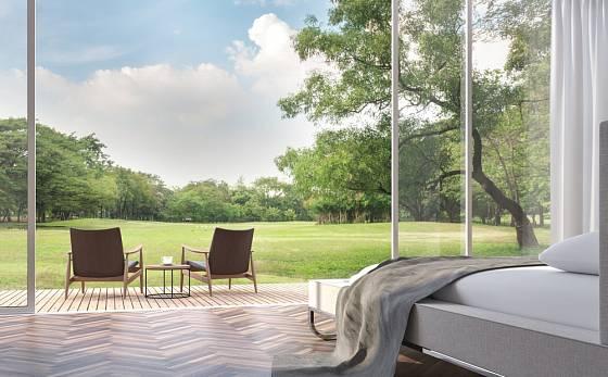 Posuvné dveře umožní nejen pohled do zahrady, ale i pohodlný přístup.