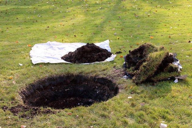 Nejprve odstraníme travní drny.