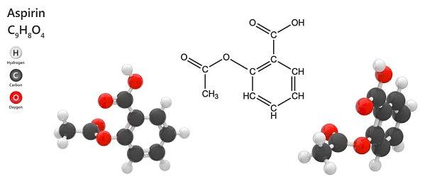 Molekula kyseliny acetylsalicylové