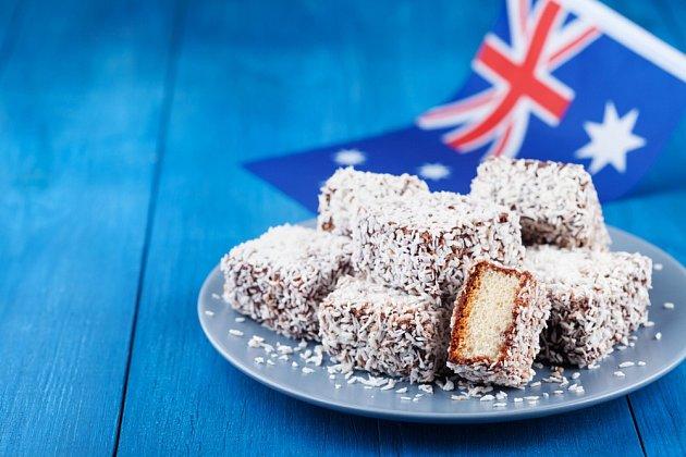 Lamington, slavný australský dezert.