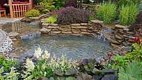 Vodní prvek v podobě zahradního jezírka.