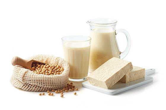 Oblíbené produkty ze sóji - sójové mléko, jogurt, tofu.