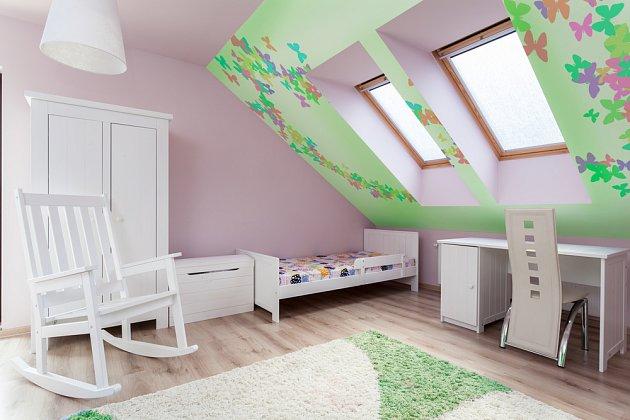Dětský pokoj v podkroví.
