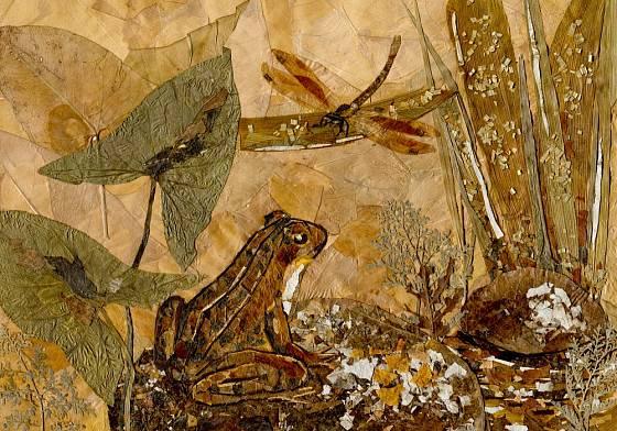 Kompozice ze sušených květů a listů.