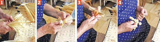 postup výroby figurky z kukuřičného šustí
