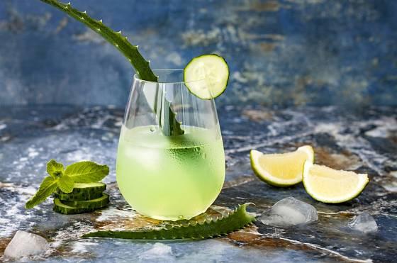 Z Aloevera, okurky a máty si můžeme připravit také gin tonic fizz.