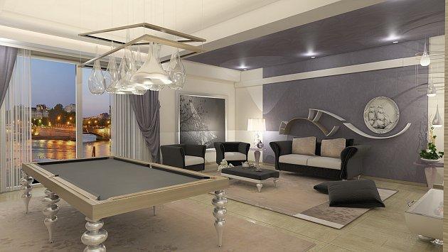 Luxusní obývací pokoj s elegantním stolem na kulečník.