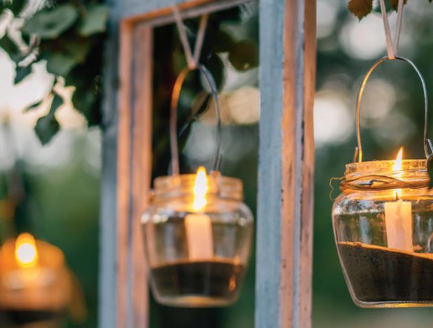 Dekorativní lucerny Svíčky v závěsných sklenicích