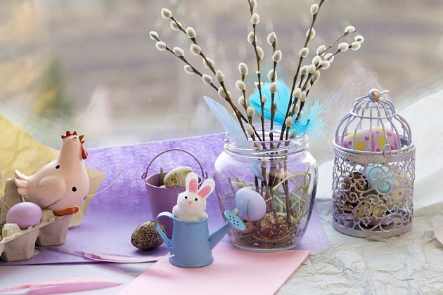 Velikonoční dekorace se bez kočiček neobejdou