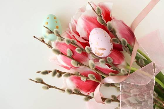 Kombinace kočiček s jarními květinami