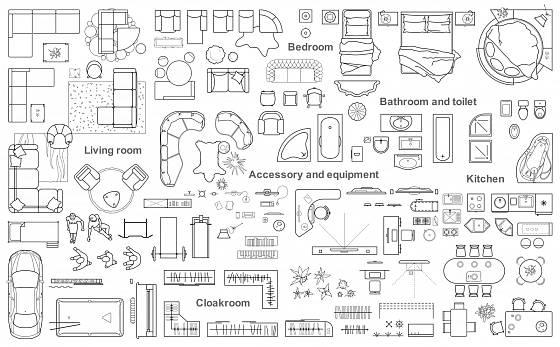 Příklady značek pro vyjádření zařízení domácnosti.