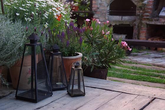 Dřevěnou terasu doplňují okrasné květiny v květináčích a skleněné lampy