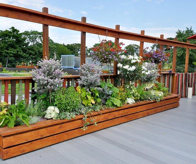 Pestře kvetoucí vyvýšený záhon tvoří přirozený předěl prostoru.