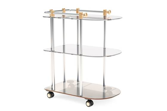 Moderní podoba servírovacího stolku má otáčivá kolečka a zaoblené hrany.