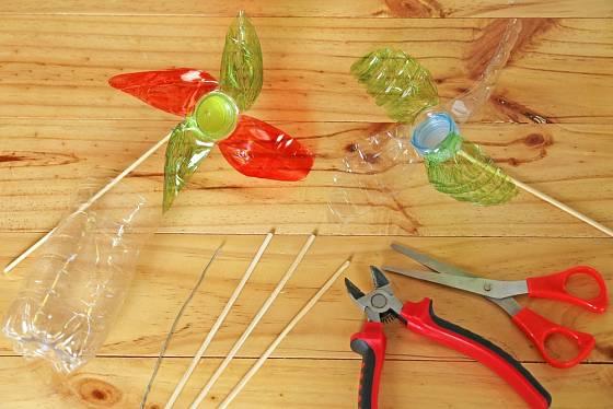 Z PET lahve můžeme vyrobit i větrník.