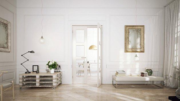Těžká paleta pokoj obvykle paradoxně vizuálně odlehčí. Zde v podobě stolku na kolečkách.