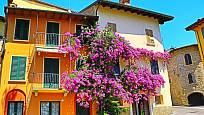 Bohatě kvetoucí bugenvilea v italském Gardone Riviera.