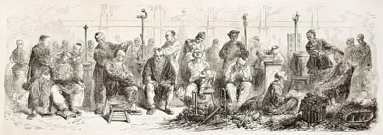 Čínské holičství, kresba z pol. 19. století