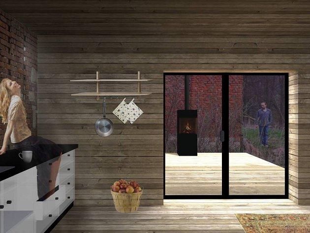 Větrací otvory původní stodoly jsou zality epoxidovanou transparentní pryskyřicí.