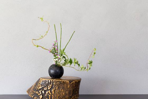 Prastarý japonský způsob aranžování květin, to je ikebana.