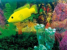 Cichlidka v akváriu – inspirací byla v kontejneru nalezená žlutá lahvička od krmiva pro rybičky