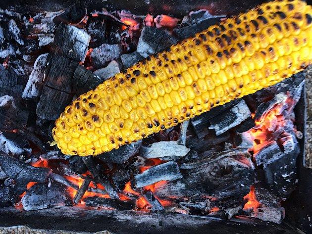 Kukuřice upečená ve žhavém popelu.
