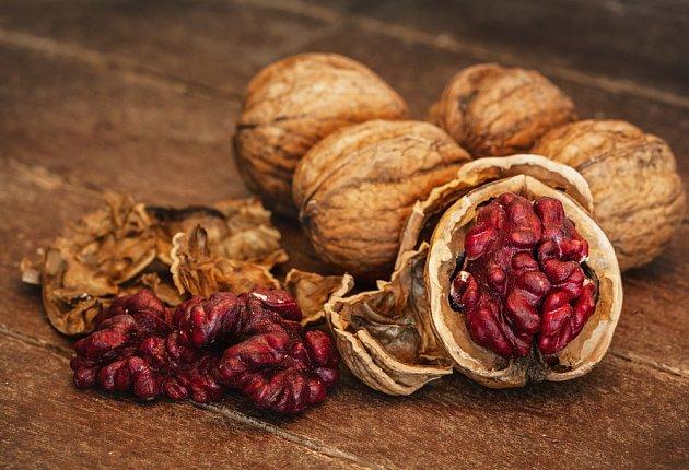 Červenojádré odrůdy ořechů jsou efektní na zdobení cukroví.