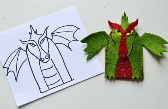 prstový maňásek - drak