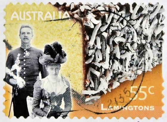 Lord Lamington a stejnojmenný australský dezert na poštovní známce z roku 2009.