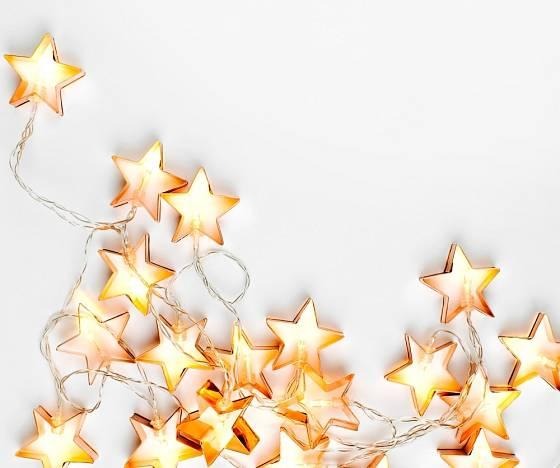 LED světelný řetěz - hvězdy k exteriérovému osvětlení.