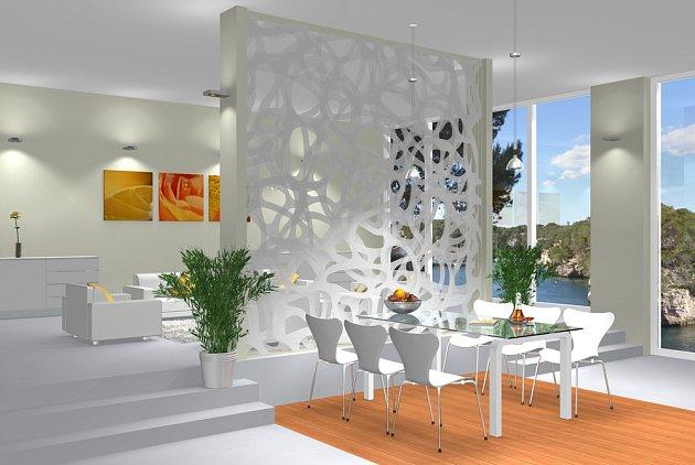 Samostatně stojící pohledová dělící stěna se může stát nejvýraznějším prvkem pokoje.