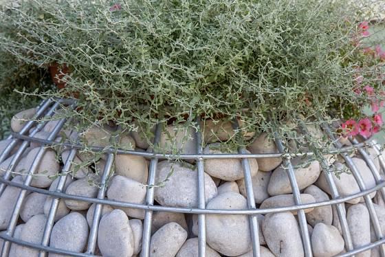 Gabionové květináče jsou netradiční dekorací do zahrad.