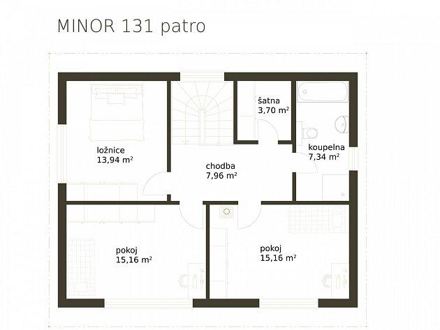 Dřevostavba Minor 131 - patro