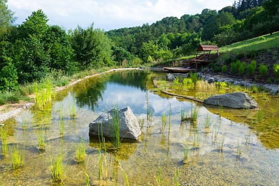Koupací jezírko nabízí krásný pohled a čistou vodu bez chemie
